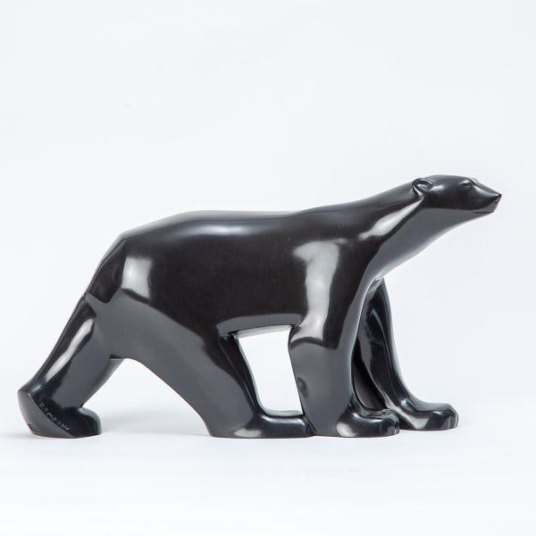 François POMPON (1855-1933)  - White Bear (or Polar Bear), black patina bronze by Valsuani 1968