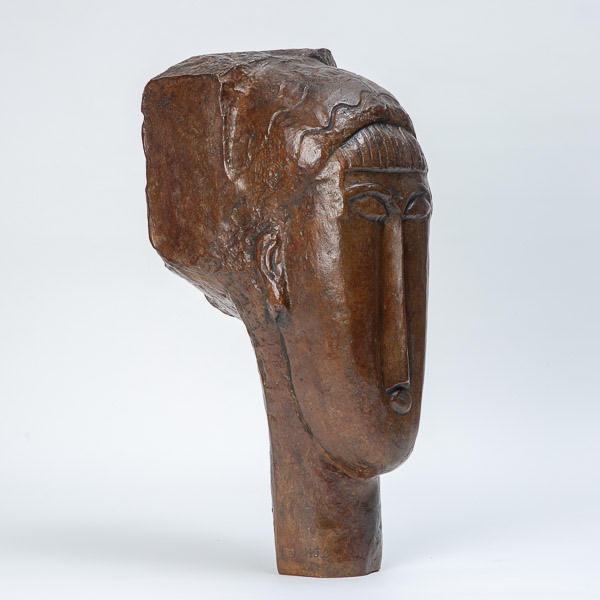Amedeo Modigliani (1884-1920)  - Tête de jeune fille à la Frange