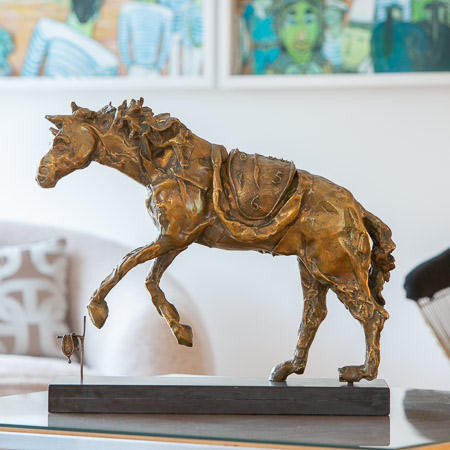 Salvador Dalí (1904-1989)  - Le cheval à la montre molle, bronze doré