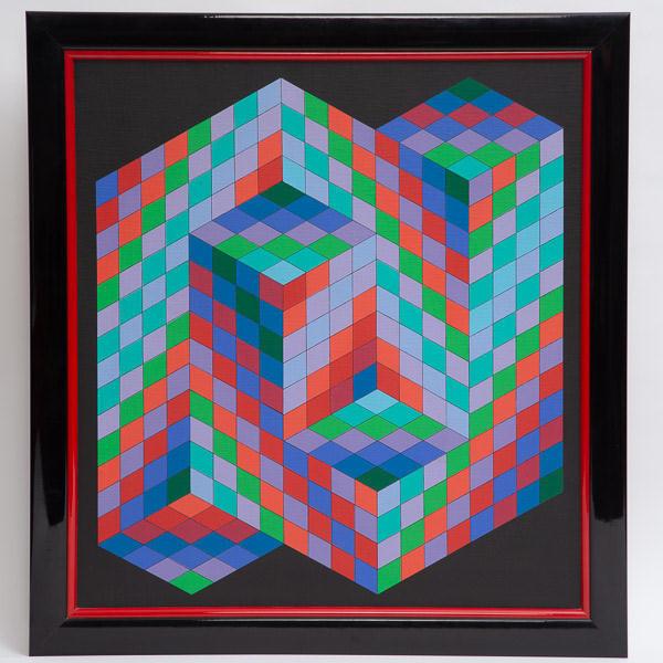 Victor Vasarely (1906-1997)  - Oslop, 1988, peinture acrylique sur toile