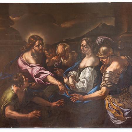 Giovanni Battista Beinaschi (1636-1688)  - Le Christ et la femme adultère, huile sur toile, 17ème