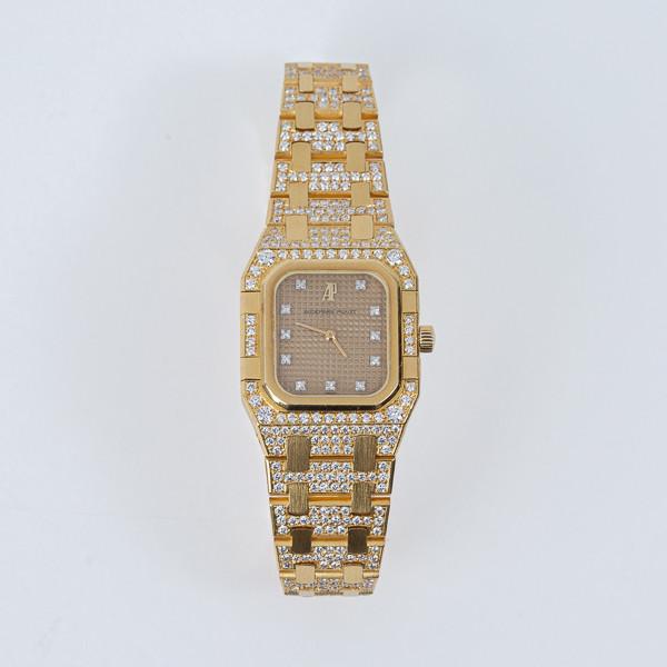 Audemars Piguet  - Royal Oak Lady - Montre bracelet femme en or jaune 18 carats avec bracelet serti de diamants