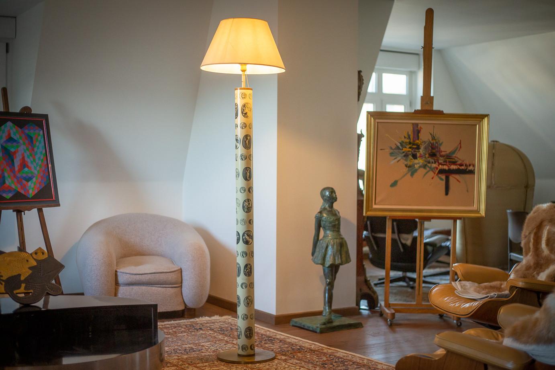 Piero Fornasetti (1913-1988)  - Monete series floor lamp (coins) in painted metal, circa 1950/60
