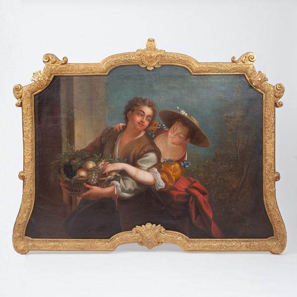 Etienne LOYS  (1724-1783)  - Femme au panier, huile sur toile