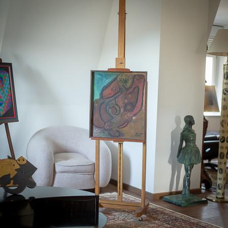 Jean-Michel ATLAN (1913-1960)  - Composition, huile sur Isorel, 1945
