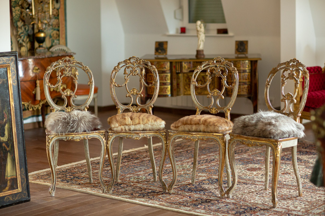 Four chairs made of painted and gilded wood from the imperial family of Russia