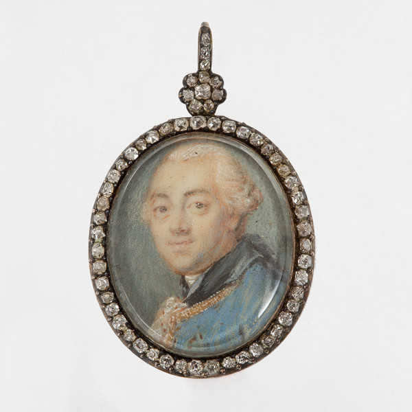 Louis XVI portrait, miniature surrounded by diamonds, with a gold background