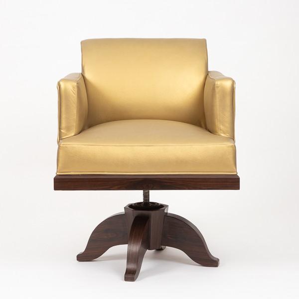 Emile-Jacques Ruhlmann (1879-1933)  - Macassar ebony and leather office armchair