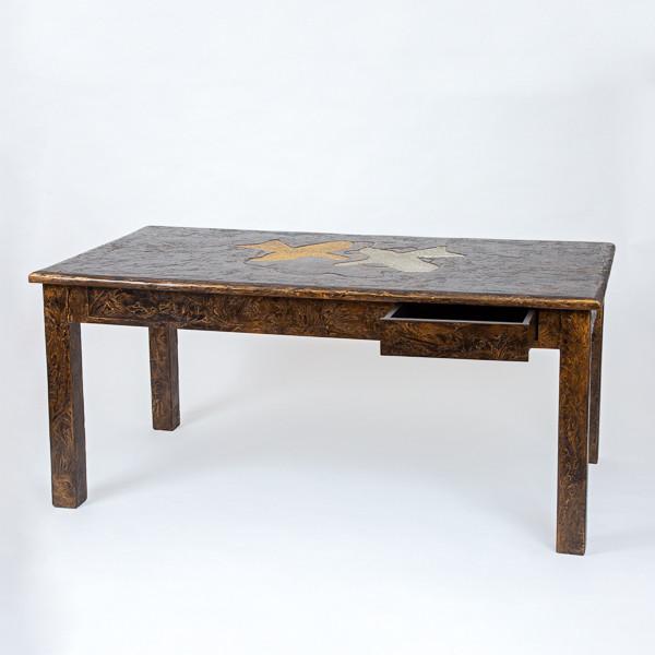 Georges Braque (1882-1963)  - Pelias et Nélée - Important bureau en bois, patine or et argent