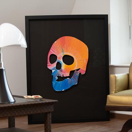 Damien Hirst (1965)  - Spin Skull, peinture acrylique et métallique sur carton
