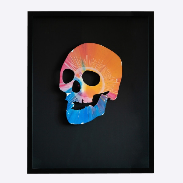 Damien Hirst (1965)  - Spin Skull, acrylic and metallic paint on paper