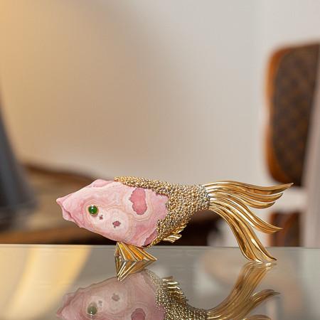 Georges Braque (1882-1963)  - Vermeil and rhodochrosite stone sculpture fish « Laomedeia »