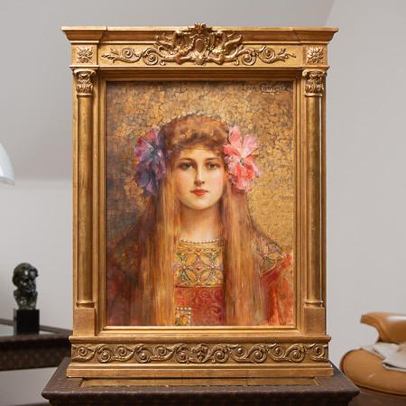Léon-François Comerre (1850-1916)  - La Jeune fille aux camélias, huile sur toile