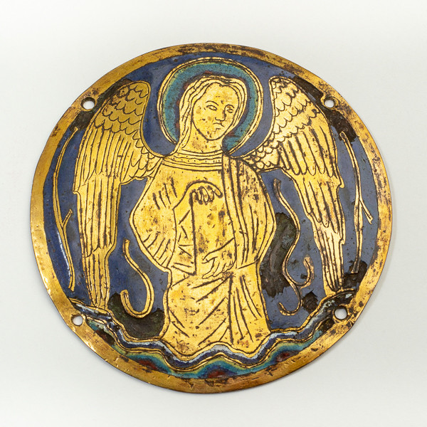 Limousin champlevé enamel applique medallion from the 2nd quarter of the 13th century