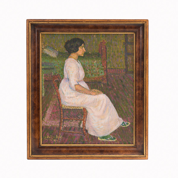 Manuel Ortiz de Zárate (1847-1946)  - L'attente, huile sur toile de 1911