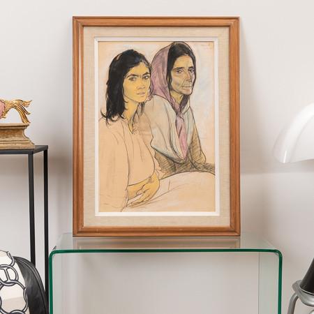 Edouard Morerod (1879-1979)  - «Mother and daughter», pastel on paper circa 1910