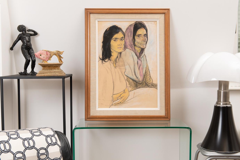 Edouard Morerod (1879-1979)  - «Mère et fille», pastel sur papier circa 1910