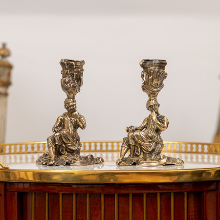 Robert GARRARD II (1793-1881)  - Two 925-thousandth paired silver vermeil torches