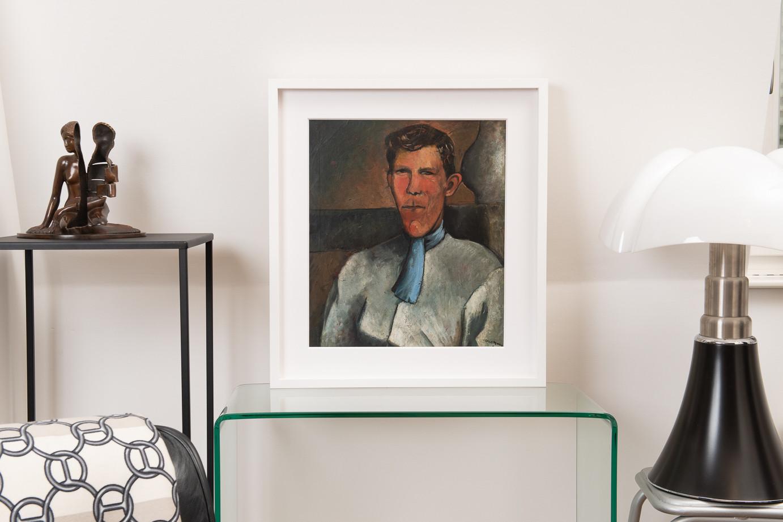 Pedro Creixams (1893-1965)  - VILAIN, self-portrait with a blue scarf, oil on cardboard 1921