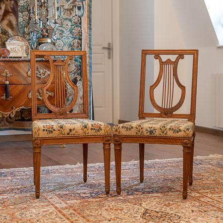 Jean-Baptiste Claude Sené (1748-1803)  - Trois chaises Louis XVI à dossier lyre