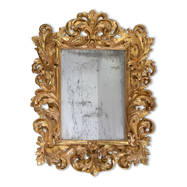 Miroir italien en bois doré fin 17ème, début 18ème